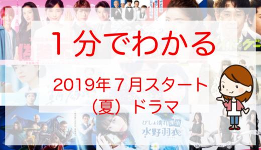 2019年7月期(夏ドラマ)一覧